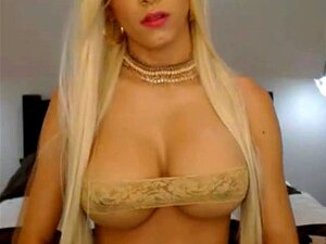 Busty Blonde Webcam Shemale Teaser Stokes Porn